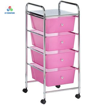 4 Tiers Plastic Kitchen Trolley Wire Top Rolling Cart With Drawer And Shelves Home Furniture