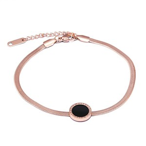 Marlary Cheap Price Stainless Steel Thin Snake Chain Bracelet Rose Gold Women Gold Bracelet
