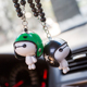 Wholesale Cute plastic cartoon character fashion Decorations Car Hanging Ornament, Car Interior with helmet pendant and bead