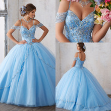 ASQ05 Real Design Sky Blue Cap Sleeve Full Beads and Crystal Shiny Prom Ball Gown Quinceanera Dresses