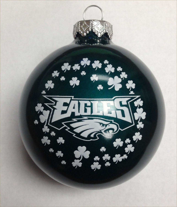 Get Quotations · Philadelphia Eagles NFL Glass Irish Christmas Ornament 2  5 8