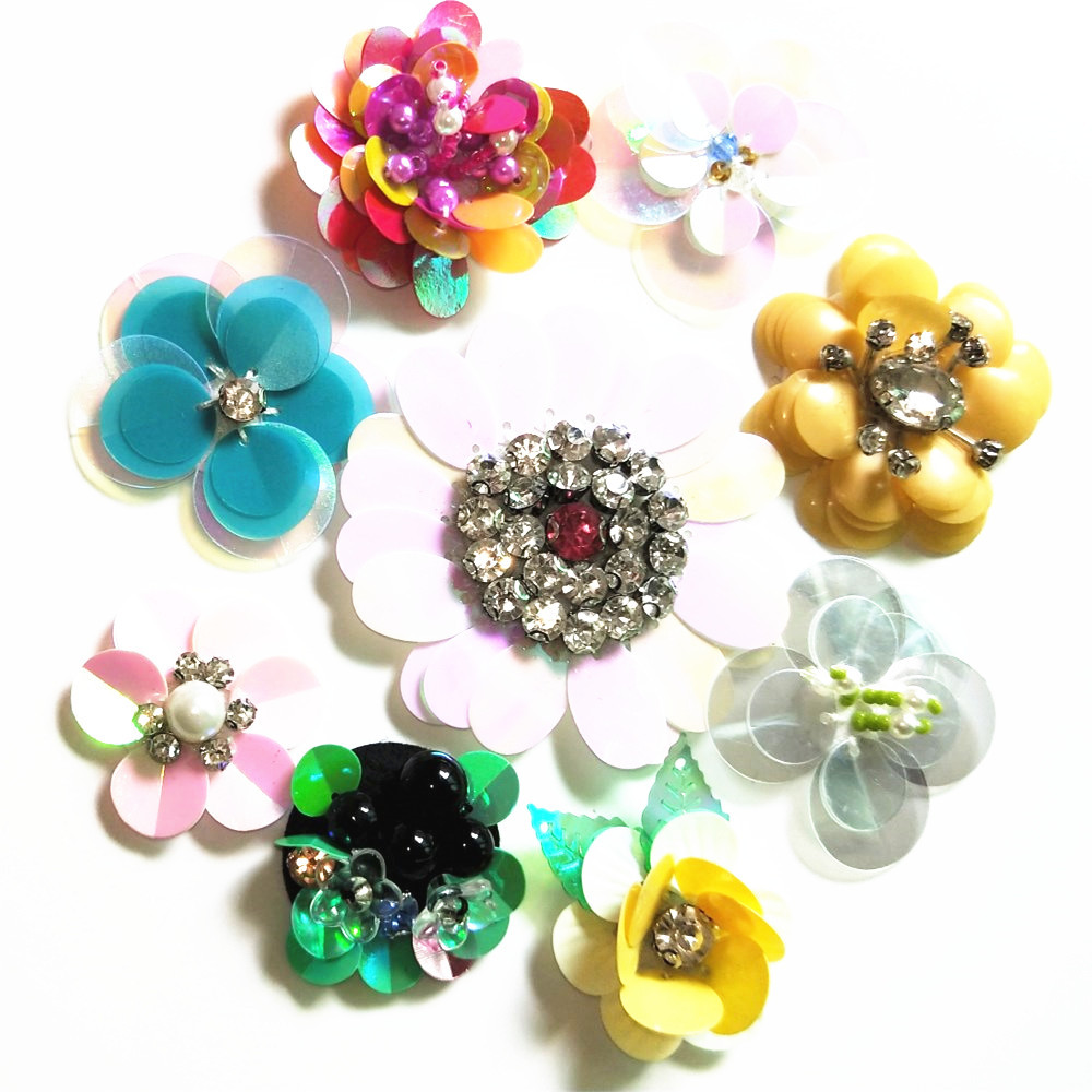 GUGUTREE handmade beaded embroidery sew on flower patches,embroidered pearls crystals appliques,brooches BBP-88