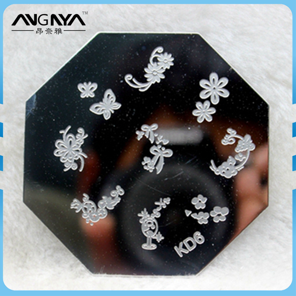 ANGNYA Flower and Butterfly Print Stainless Steel Nail Art Stamping Nail Plate