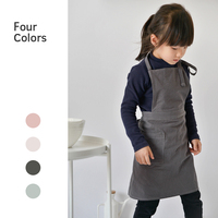 100% Cotton and Linen Apron for Kids with Extra Waist Frilly Design for Child with 2 Pockets