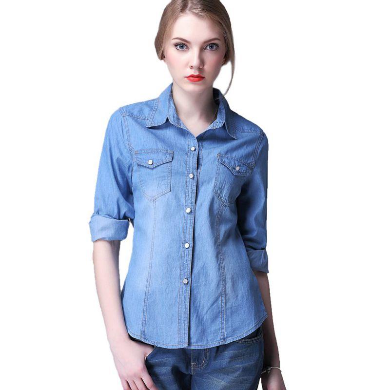 Para Mujer Camisa De La Mezclilla Azul - Compra lotes