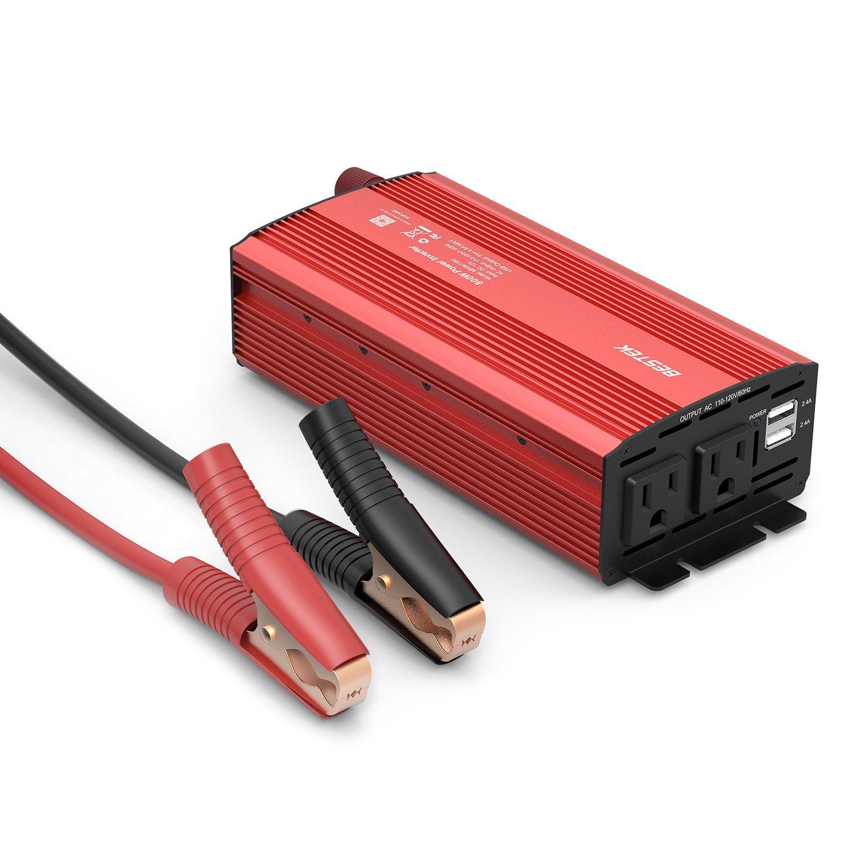 BESTEK 800W Power Inverter, Dual AC Outlets, 12V to 110V Car/Boat AC Adapter