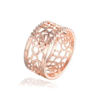 Gold Plated Pave Cz Stone Wide Band Hollow Rose Flower Shape Gold
