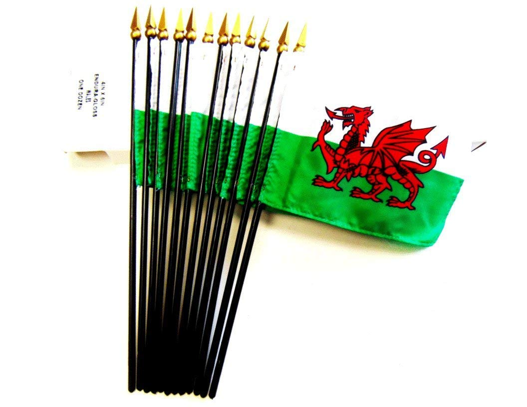 "MADE IN USA!! Box of 12 Wales 4""x6"" Miniature Desk & Table Flags; 12 American Made Small Mini Welsh Flags in a Custom Made Cardboard Box Specifically Made for These Flags"
