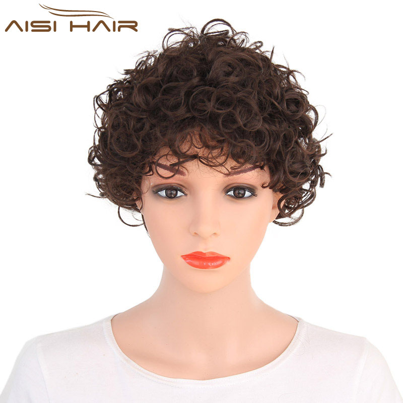 Black Short Afro Kinky Curly Wigs Heat Resistant Synthetic African /American Wigs For Black Women