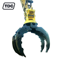 Heavy duty double cylinder hydraulic rotating excavator grab stone grapple for excavator