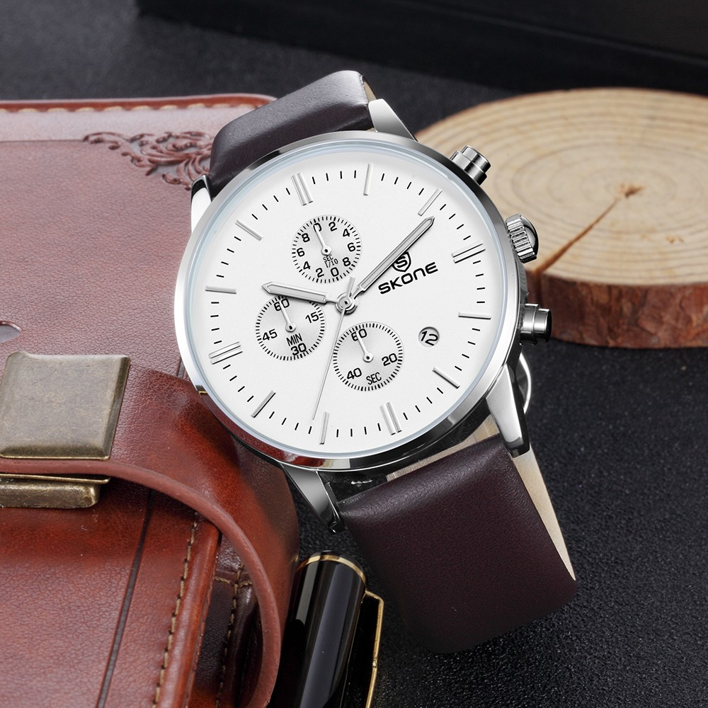 Skone 9476 Factory Wholesale man leather bracelets wristwatch