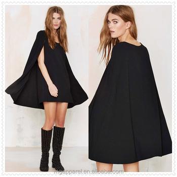 081b5f6f16a6 china supplier fashion women scoop neckline black tank dress chiffon cape  overlay dress
