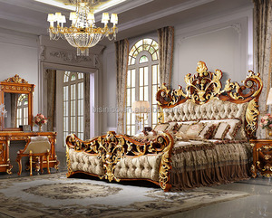 Bisini Luxury Palace King Size Bed, Royal Golden King Size Bedroom Furniture