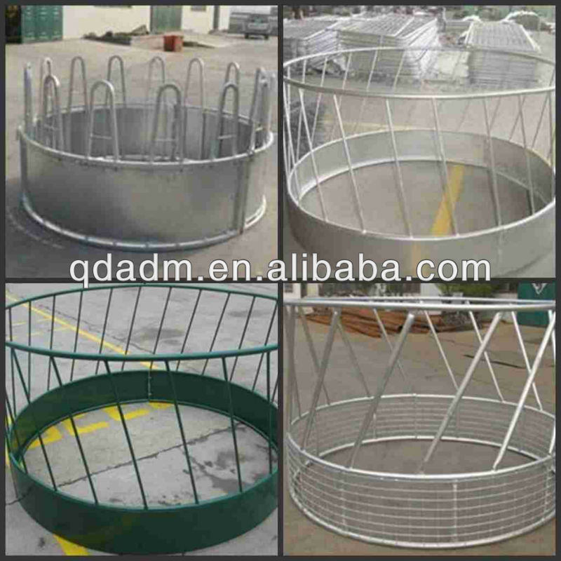 cattle horse livestock hay galvanized or powder coating round bale feeder