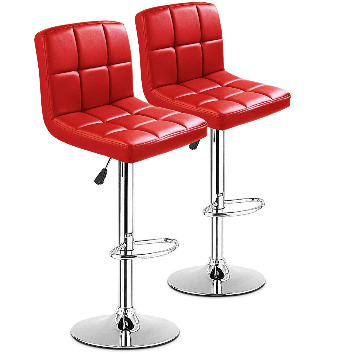 GHP 2-Pcs 330-Lbs Red PU Leather & Steel Pneumatic Swivel Barstools with Footrest