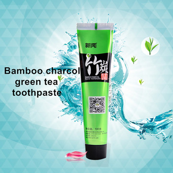 100g healthy oral cleaning teeth whitening bamboo charcoal green tea toothpaste