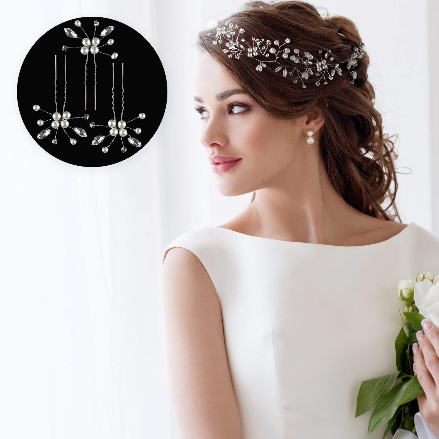 Get Quotations · HANDMADE HAIR ACCESSORIES FOR WEDDING + 3 BONUS FLOWER  WEDDING HAIR PINS - WEDDING HAIR ACCESSORIES 6608246c26b0