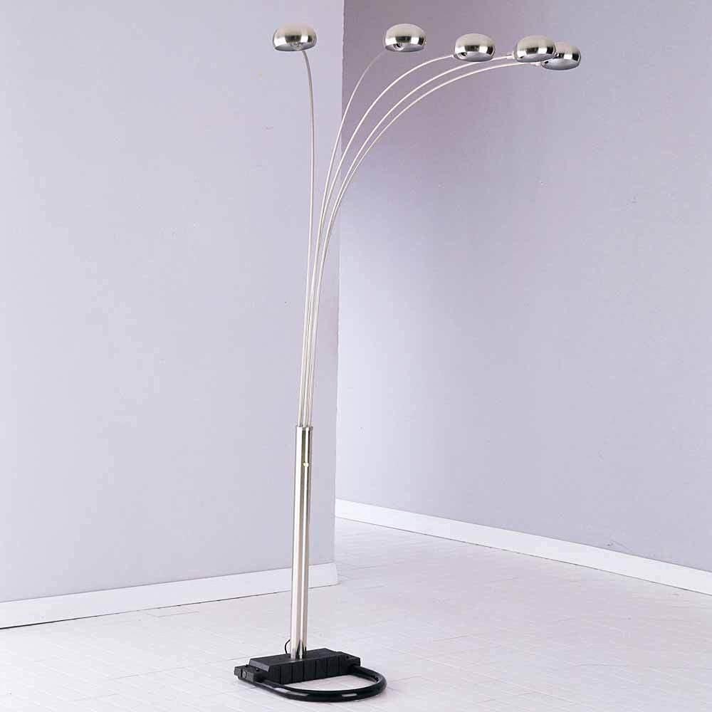 1PerfectChoice Contemporary 5 Cap Lighting Bulbs Floor Lamp Arc Shaped Metal Nickel Silver NEW