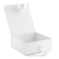 Foldable Collapsible Rigid Luxury Matte White Paper Gift Box with Ribbon
