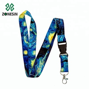 Custom Blue Starry Night Polyester Heat Transfer Lanyard Neck Strap With Lobster Clip