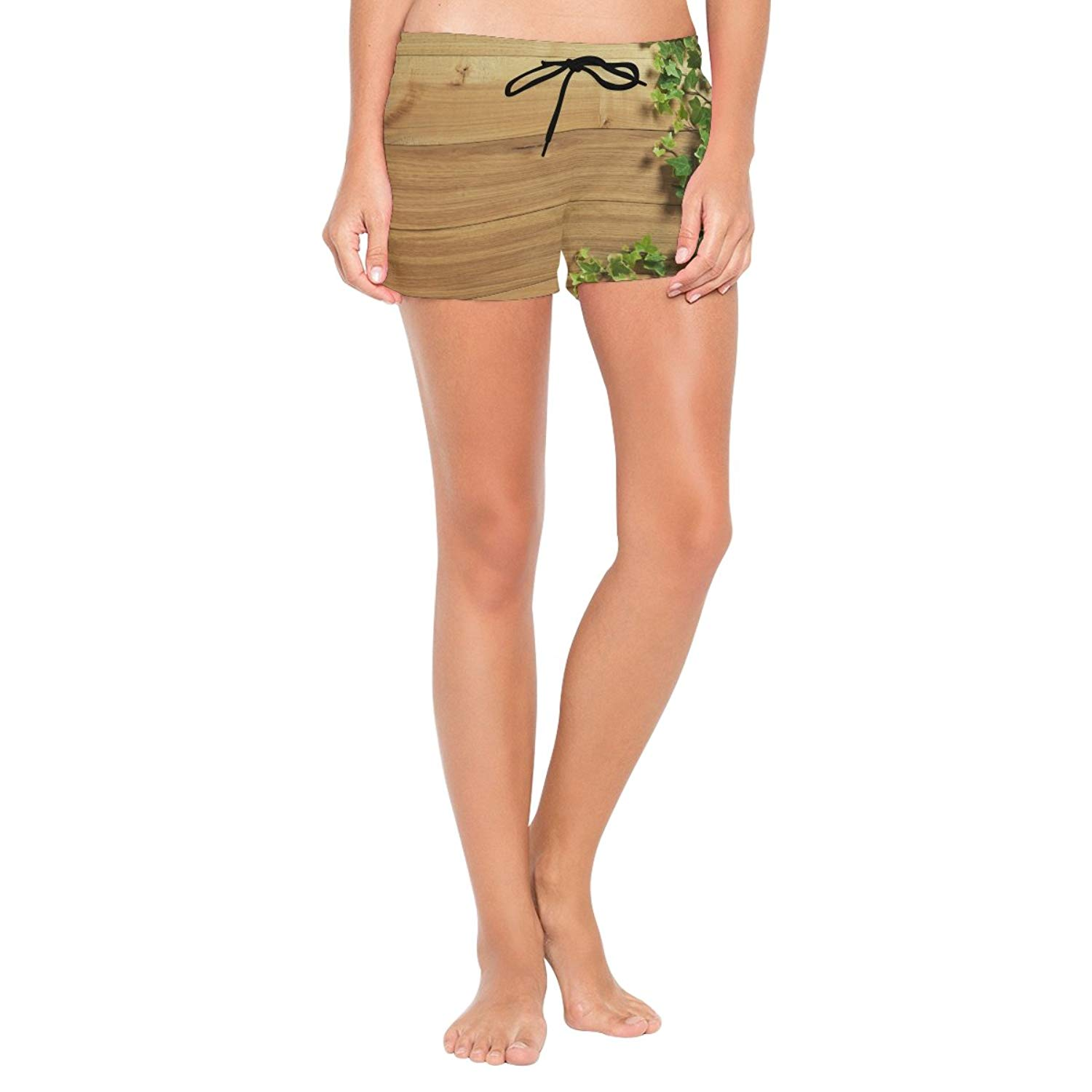XiangHeFu Women's Beach Shorts Wooden Board Covered in Ivy Swim Trunk with Pockets