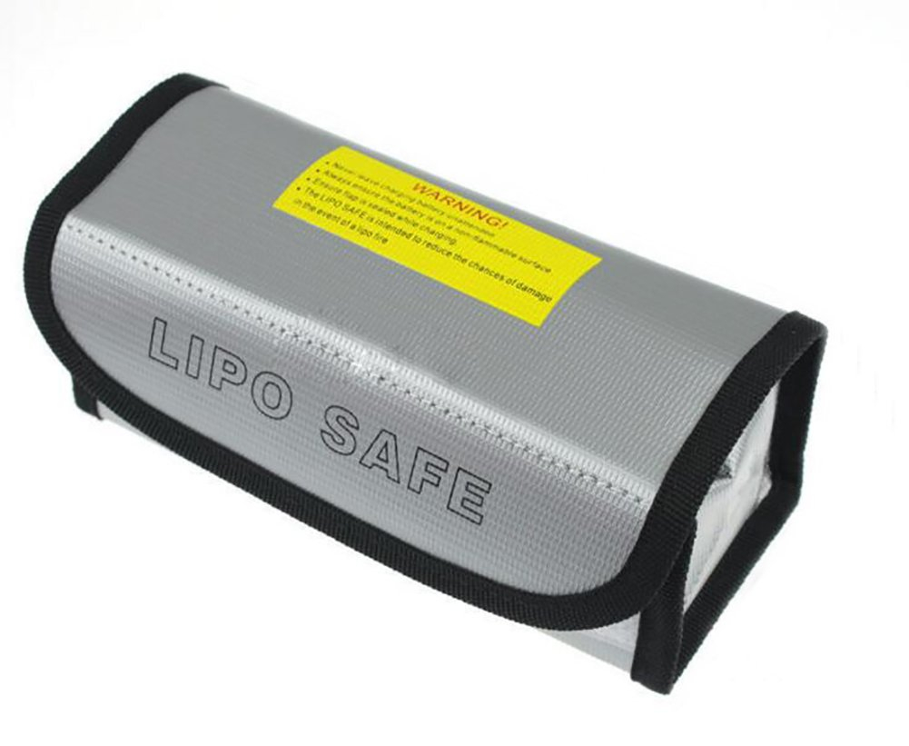JUMERY Lipo Battery Safe Bag Fireproof Explosionproof Lipo Battery Guard Safe Bag for Safe Charging and Storage185x75x60mm - Large Size (Silver)