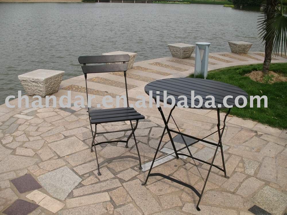 Jard n de hierro plegable silla y mesa teca muebles de for Mesa plastico jardin