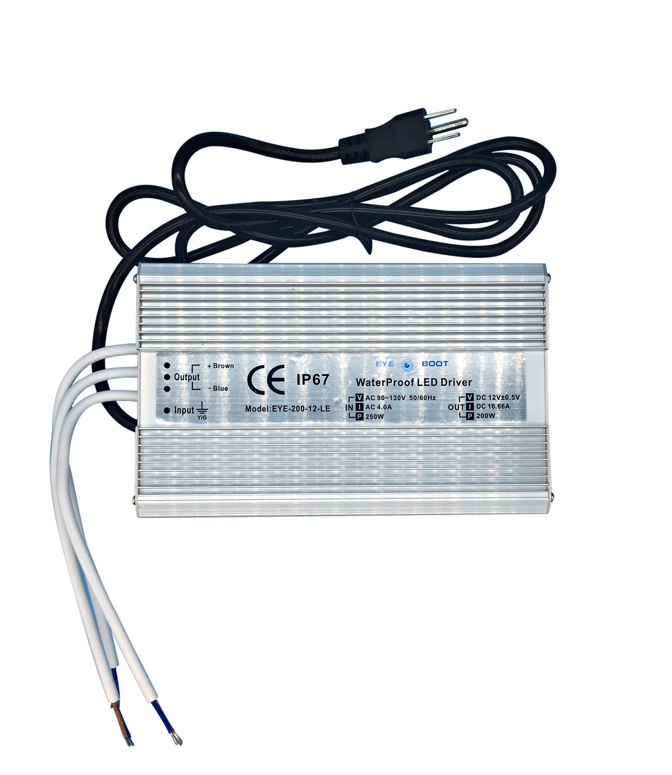 Eyeboot waterproof LED Driver 200 Watt 12 Volt Power Supply with 3-Prong USA Plug, waterproof IP67