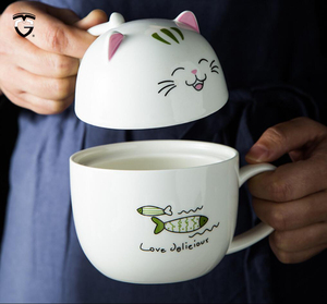 Creative Cartoon Ceramic Mug Porcelain Cup Cute Cat 3D Mugs Large Milk Cup