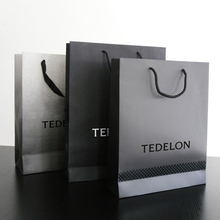Promotional packaging Cheap Custom Black Carry disposable luxury kraft paper shopping bag
