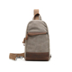 Multi-functional cross body chest pack travel sling genuine leather casual daily vintage canvas mens chest bag