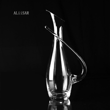 ALiiSAR Professional manufacturer best selling not industrial best hand blown crystal glass wine decanter with handle