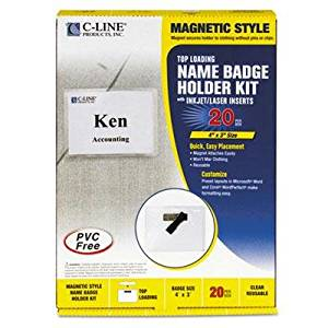 """C-Line - Magnetic Name Badge Holder Kit Horizontal 4W X 3H Clear 20/Box """"Product Category: Labels Indexes & Stamps/Identification Badges"""""""