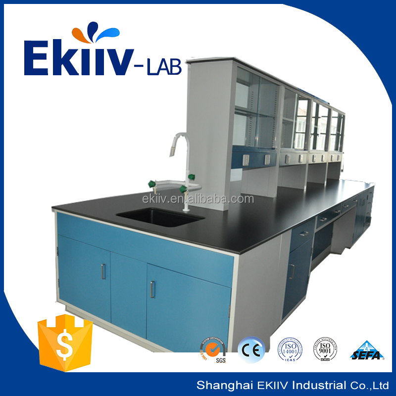 used chemical laboratory island benches furnitures with reagent rack