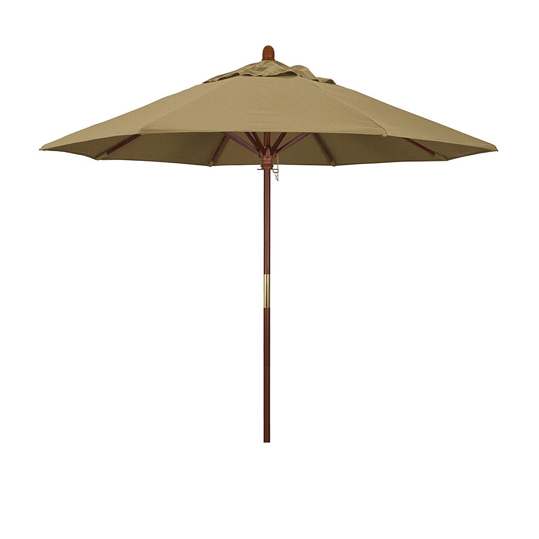 California Umbrella 9' Round Hardwood Frame Market Umbrella, Stainless Steel Hardware, Push Open, Straw Olefin