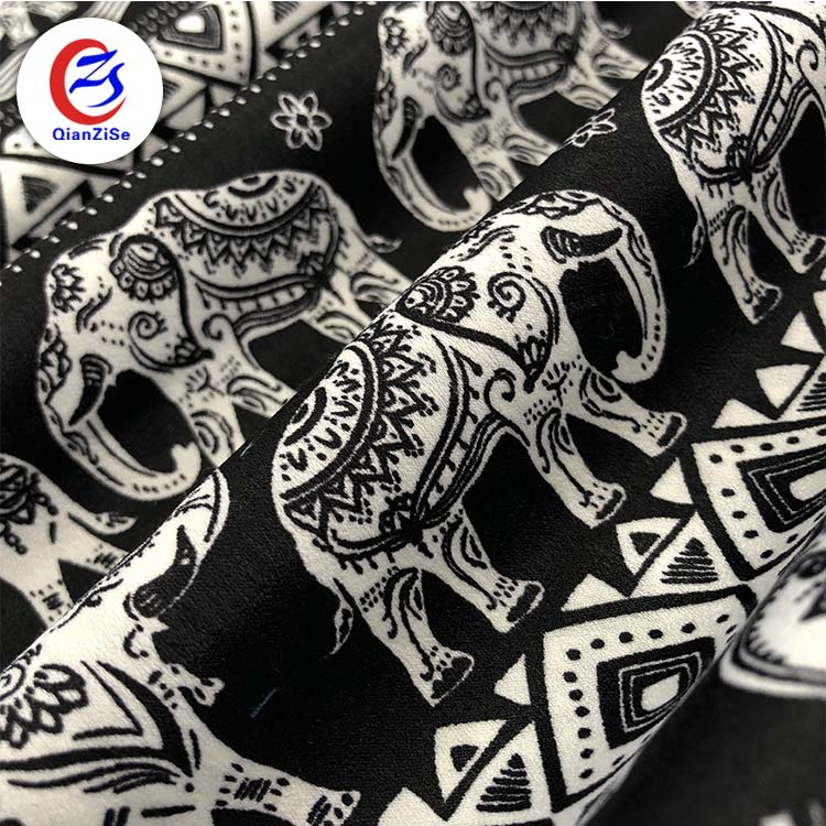african animal print woven fabrics thailand elephant modern printed satin fabric for dresses