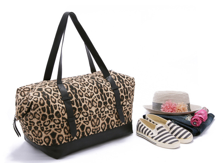 2f94a5e17117 Get Quotations · fashion handbags leather black and leopard colors canvas  casual women s travel duffle bags handbags totes shoulder