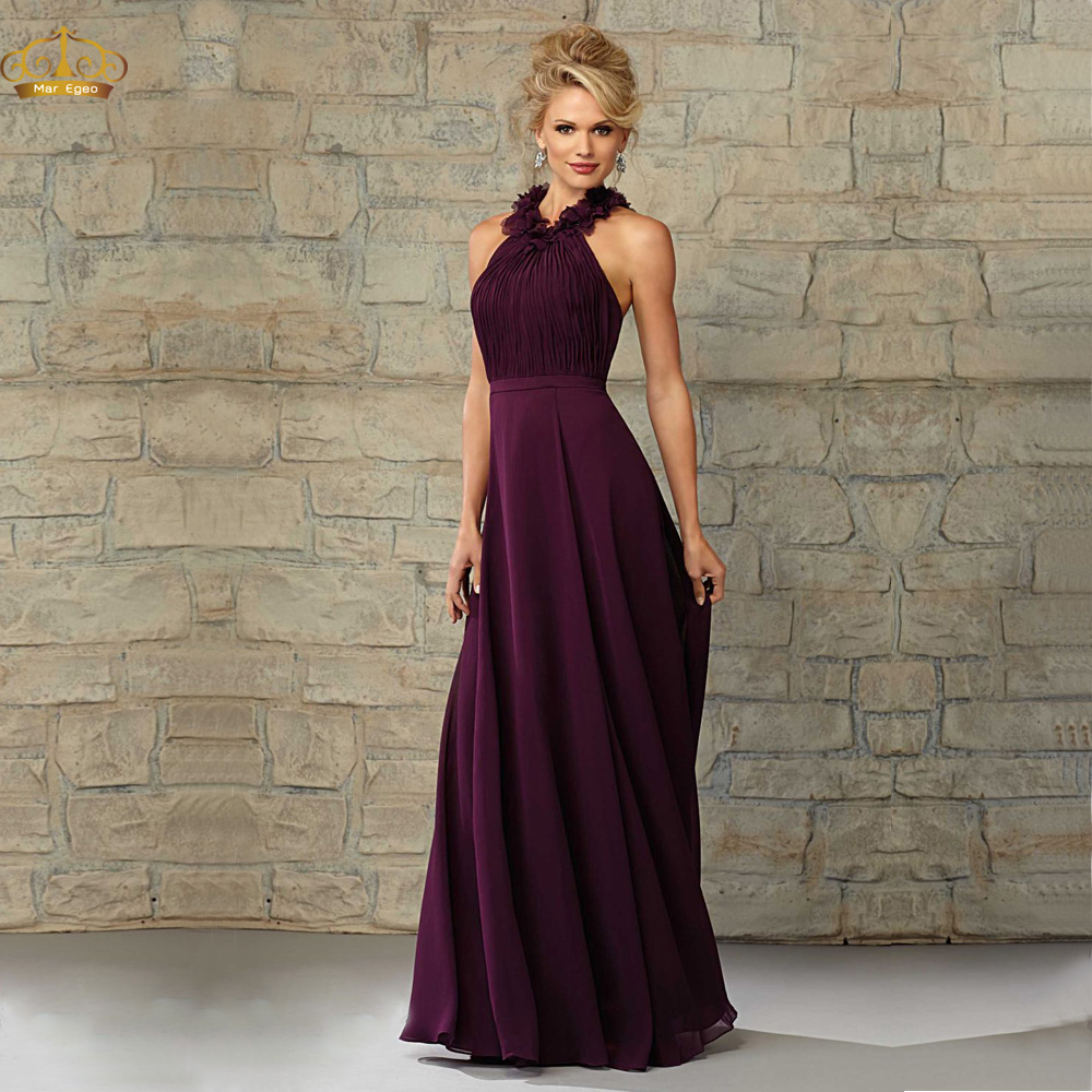 Vestido-De-Madrinha-Plum-Chiffon-Long-Bridesmaid-Dress-for ...