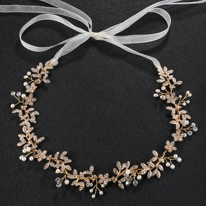 Wedding Bridal Hair Vine Rhinestone Bridal hair accessory with Ivory silk ribbon Wedding Headpiece for Women and Girls
