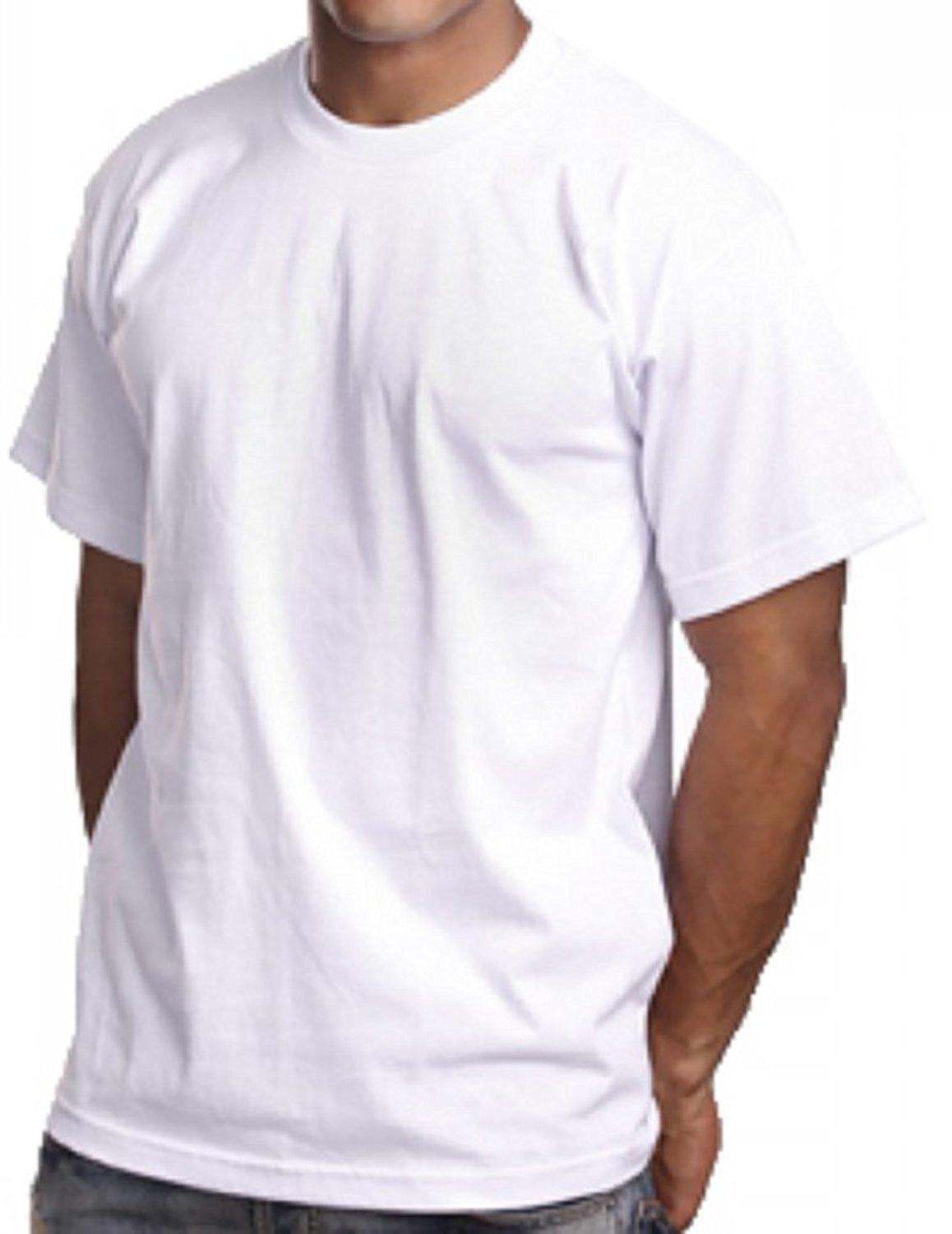 33fb979c3 Get Quotations · 3 Pack White Men's Plain T Shirts Pro 5 Athletic Blank  Tees Urban Wear