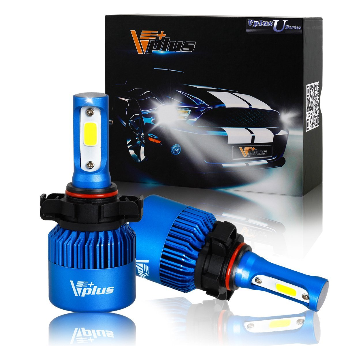Vplus U Series LED Headlight Bulbs w/ Clear Focused Beam Kit - PSX24W 2504 12276 80W 8,000LM 6500K White COB w/ Fan LED Headlamp Conversion Replace HID & Halogen - 1 Yr Warranty - (2pcs/set)