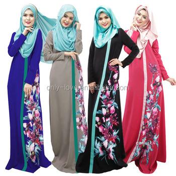 1f67fc05800f9 High Quality Big Size Print Floral Malaysia Muslim Elegant Abaya Robe Long Women  Dress Turkish Jilbab