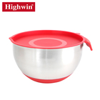 Popular High quality best selling Red stainless steel reusable salad mixing bowl set with lid