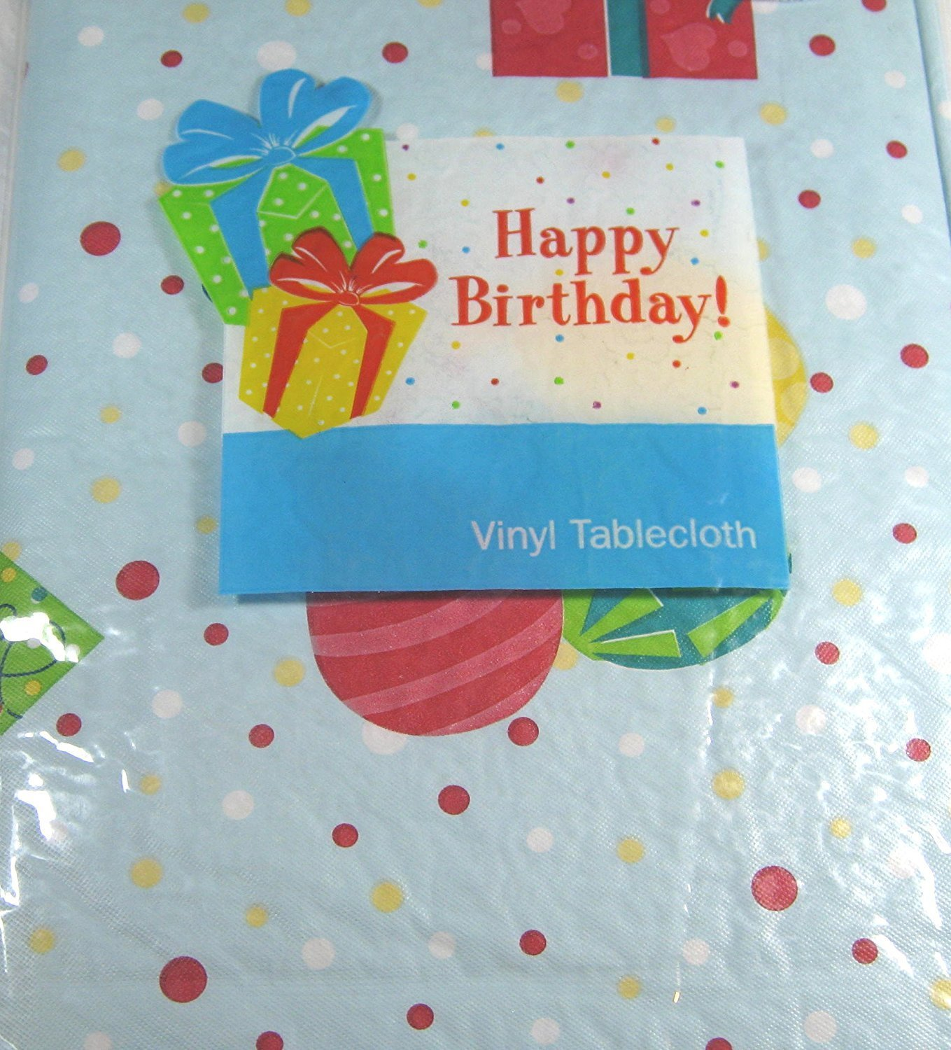 Get Quotations · Happy Birthday Flannel Back Vinyl Tablecloths By Elrene    Cake And Presents 52x52 Square