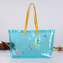 High quality reusable colorful vinyl pvc shopping tote bag