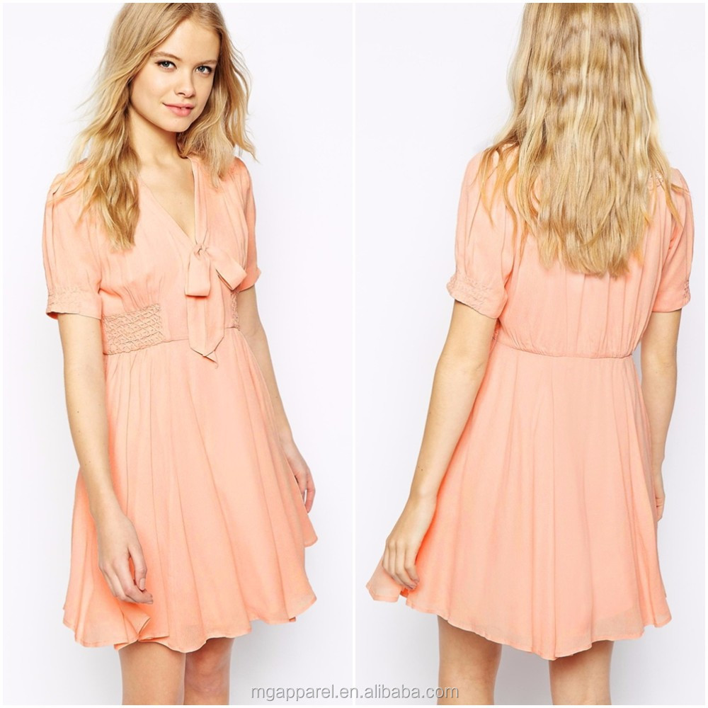 96d9fb82fab4 100% Polyester Nice Design Clothes Women Casual Dress Girl Party Wear  Western Dress Pink Cap Sleeve Birthday Dresses For Girls