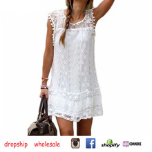 dropship Sleeveless dress White lace Sexy dress