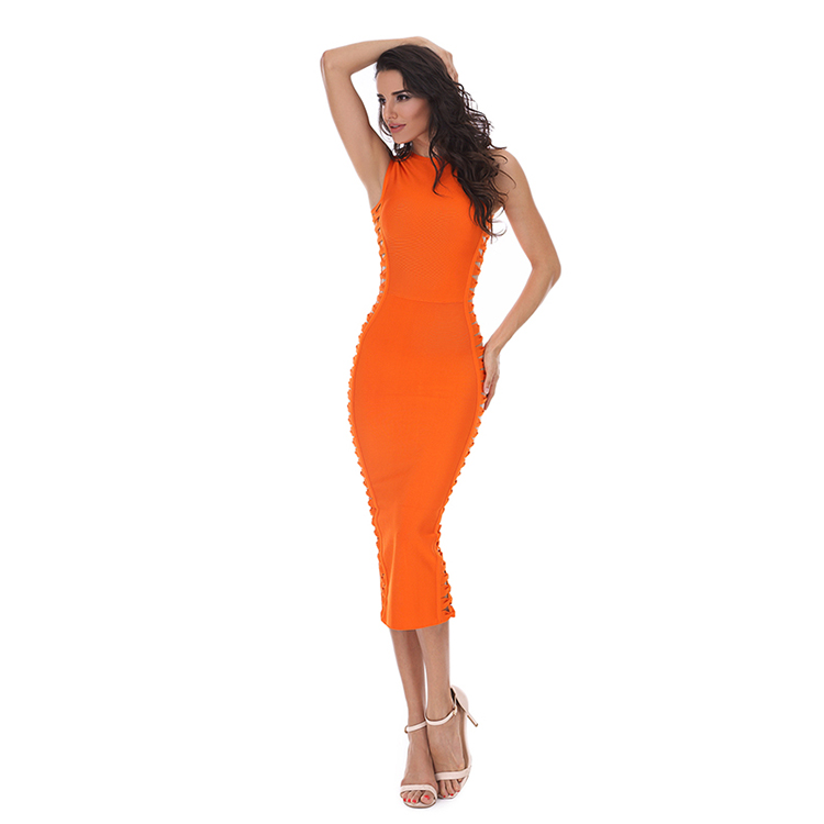 Mode Frauen Sexy Bodycon Berühmtheit Abend Party Sleeveless Midi Verband-kleid