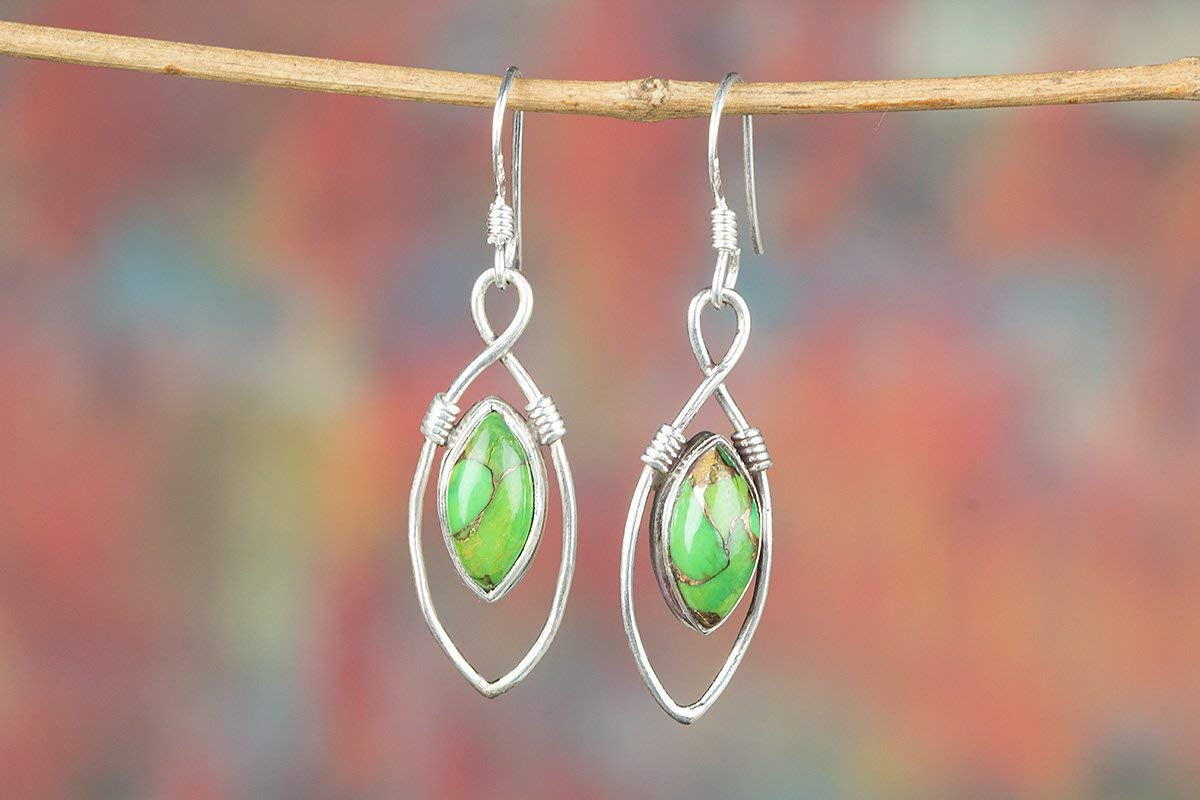Green Copper Turquoise Earrings, 925 Sterling Silver, Marquise Shape Earrings, One Of A Kind, Hypoallergenic Earrings, Promise Earrings, Engagement Earrings, Birthday Gift, Genuine Earrings, Gift Her