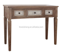3 drawers wooden console table with rivet&cloth for living room
